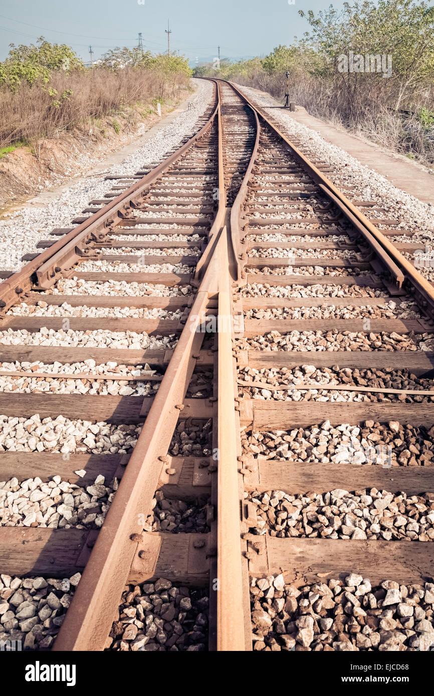 rail tracks junction - Stock Image