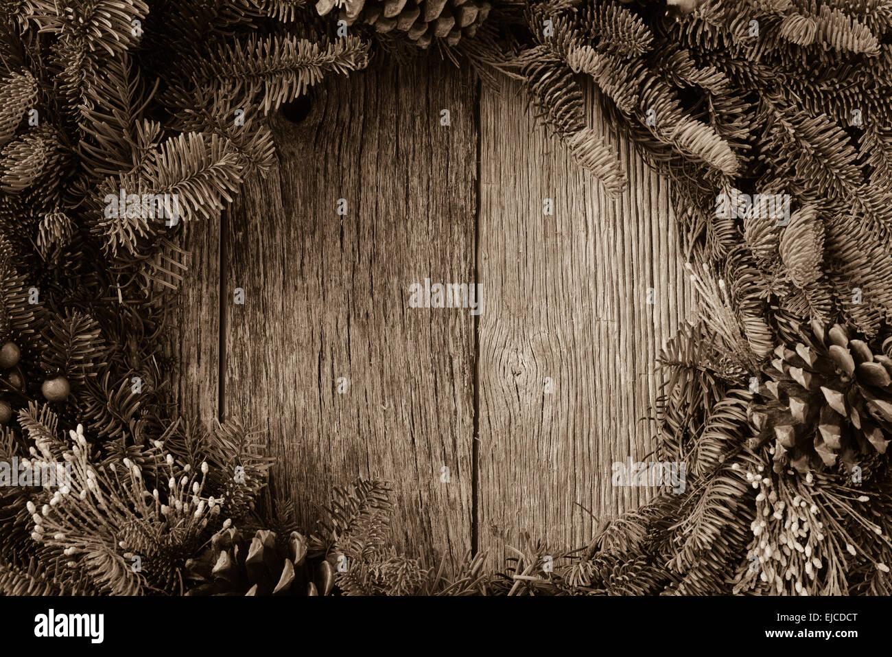 Christmas Wreath On Rustic Wood Background