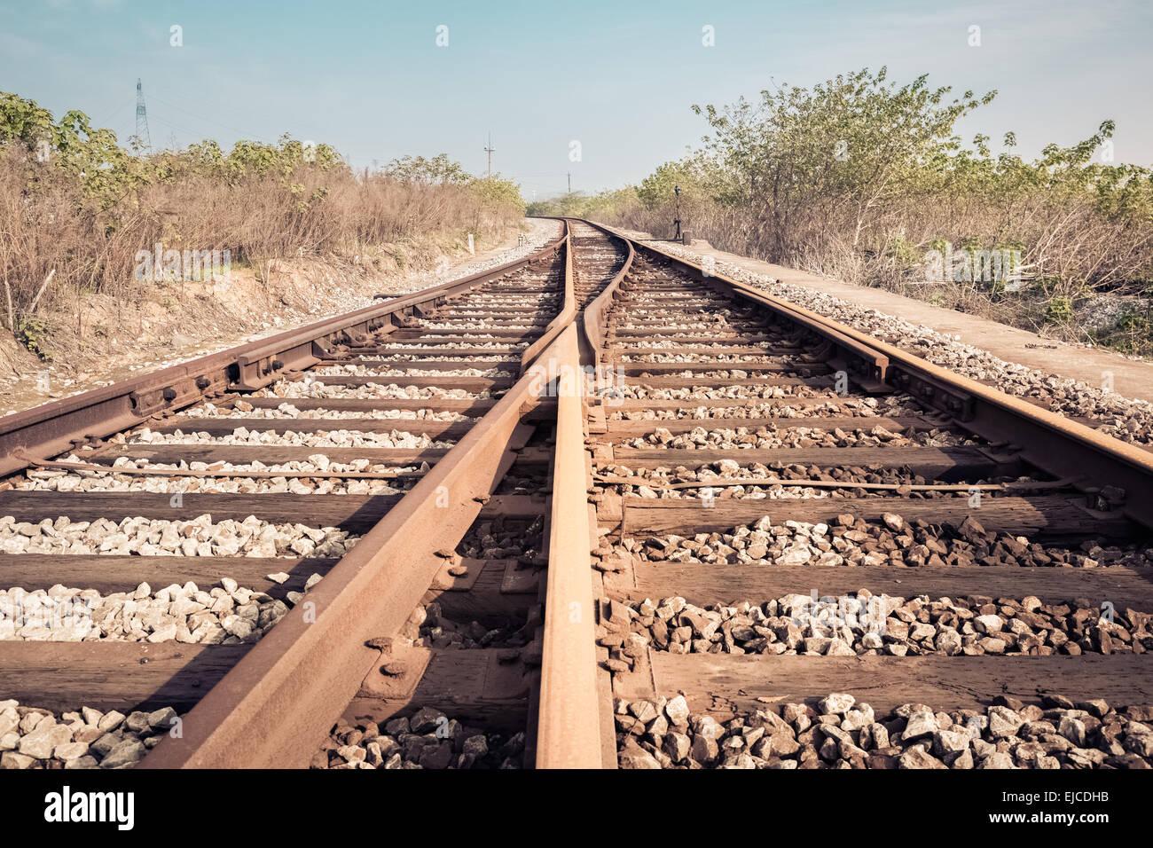 railroad turnout closeup - Stock Image