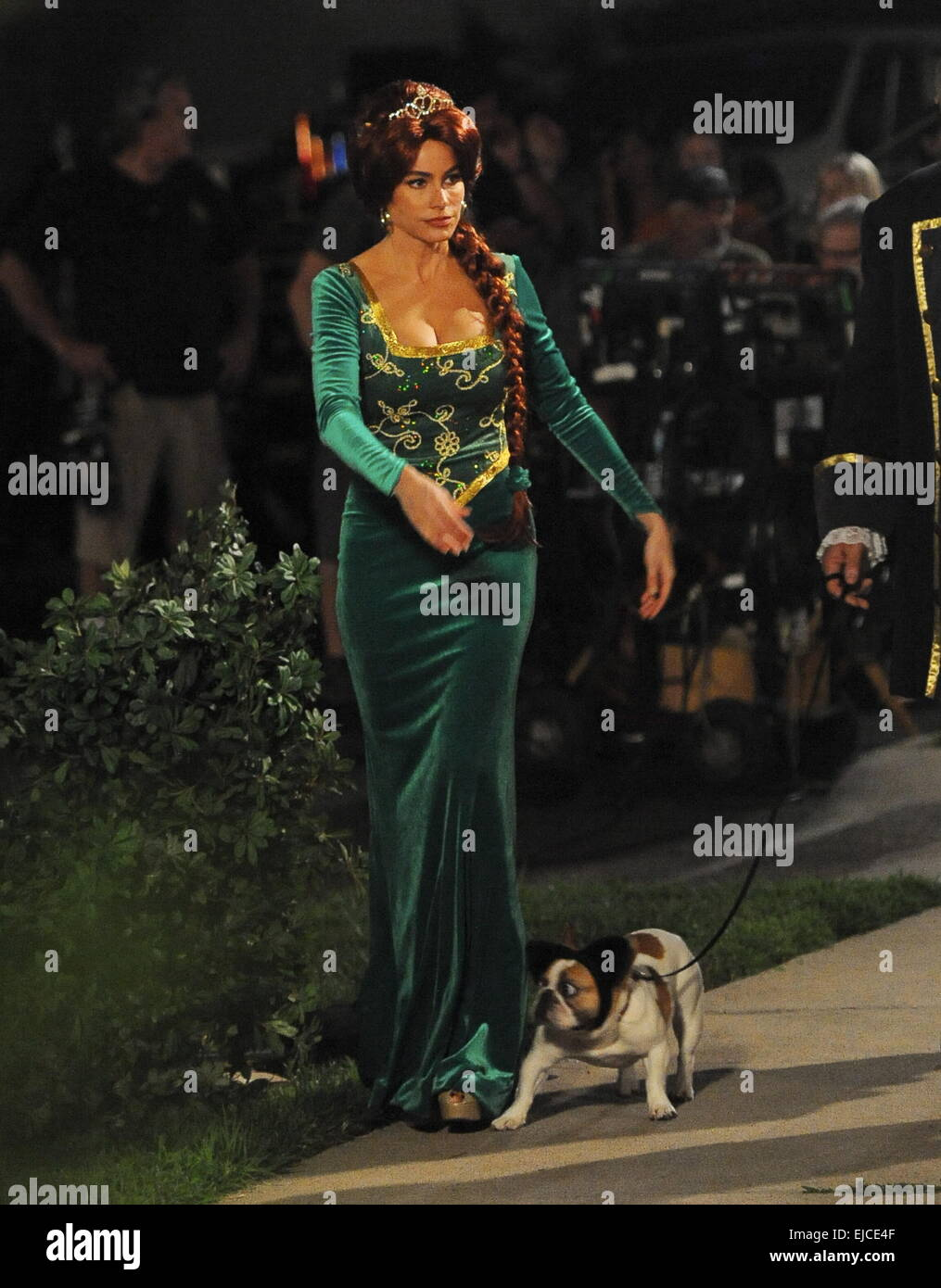 Sofia Vergara wears a Princess Fiona from Shrek costume on the set of  Modern Family  filming a halloween episode. The actress was joined by co star Ed ...  sc 1 st  Alamy & Sofia Vergara wears a Princess Fiona from Shrek costume on the set ...
