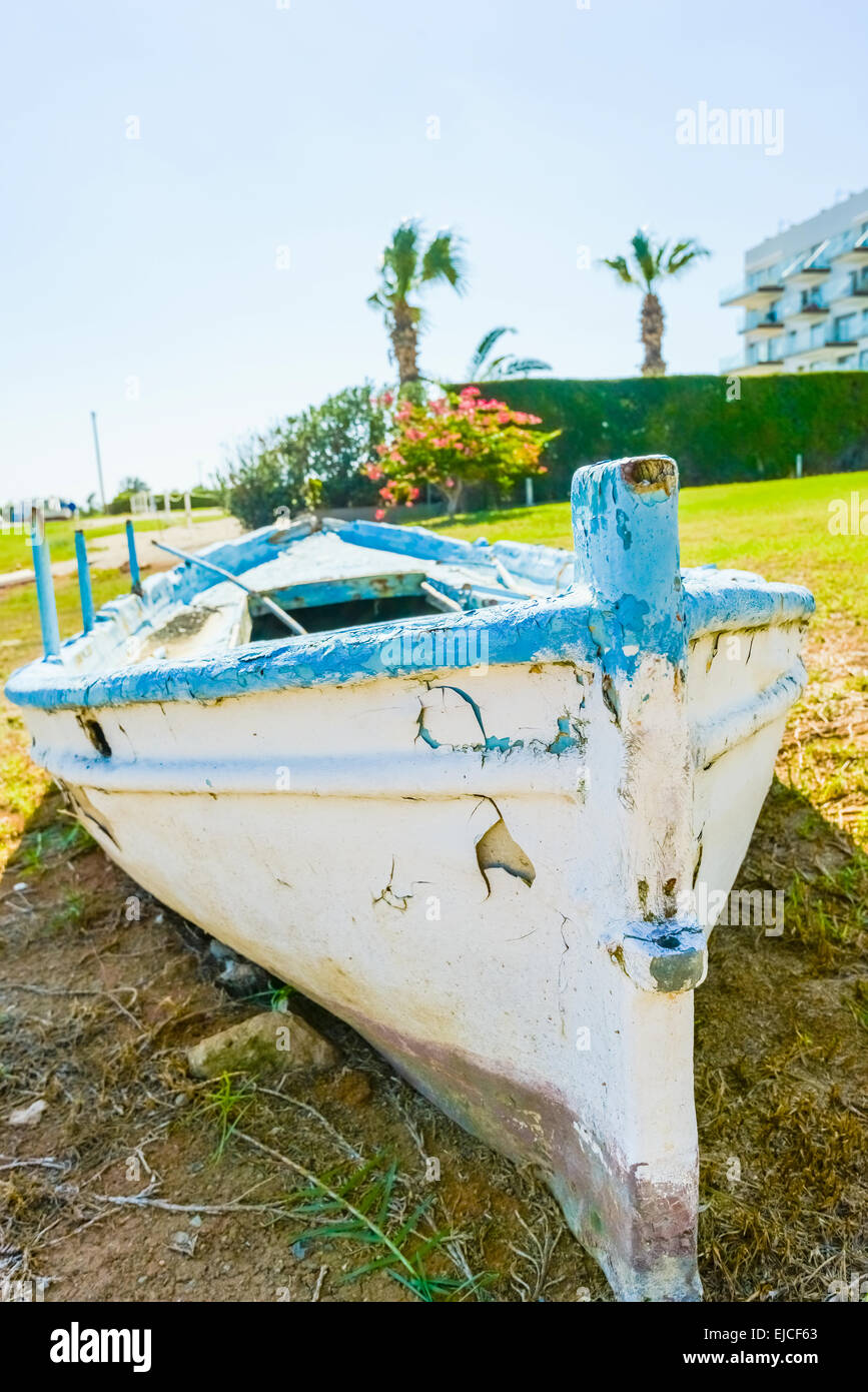 old boat on the beach - Stock Image