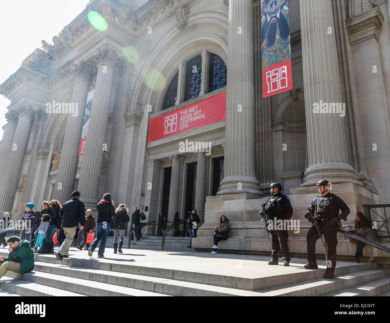 armed anti-terrorist guards on duty, Metropolitan Museum of Art, New York, USA - Stock Image