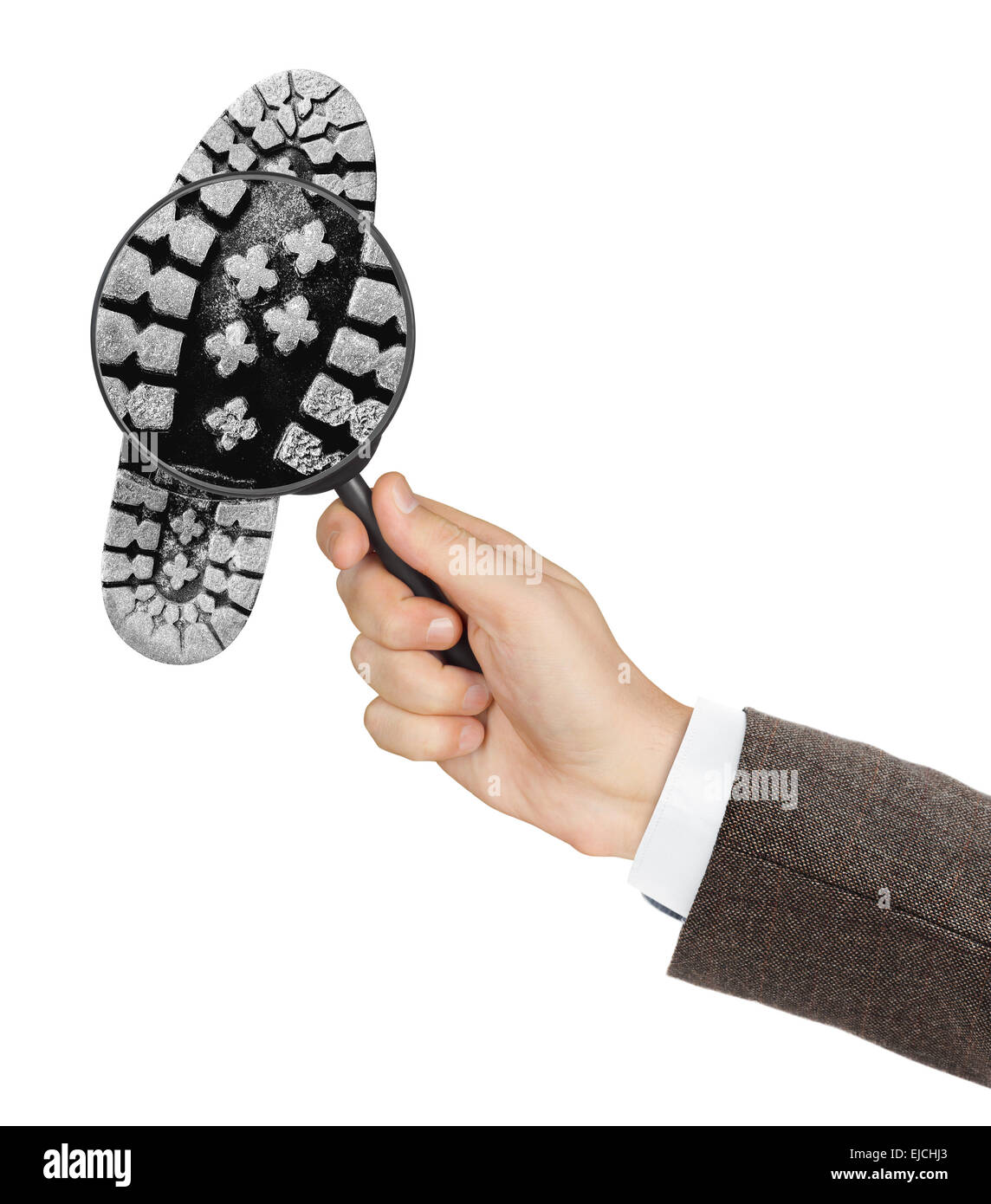 magnifying glass in hand and shoe printout stock photo 80182539 alamy