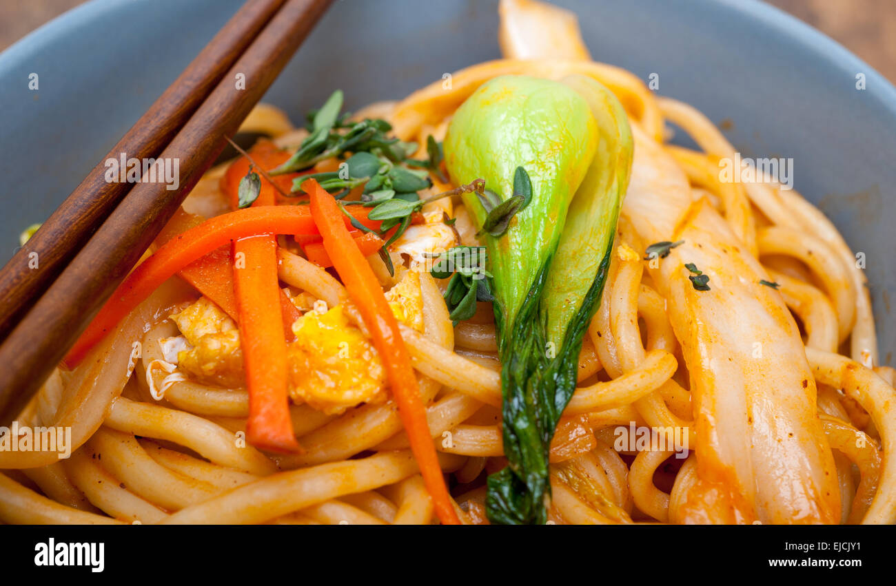 hand pulled ramen noodles Stock Photo
