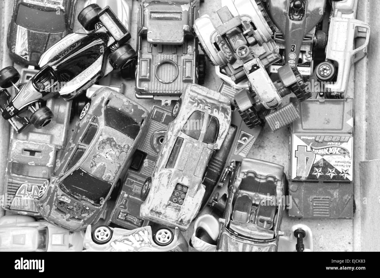 Toys in box black and white - Stock Image