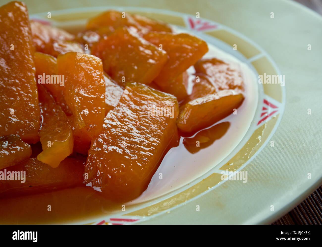 Calabaza con azucar moreno - Stock Image