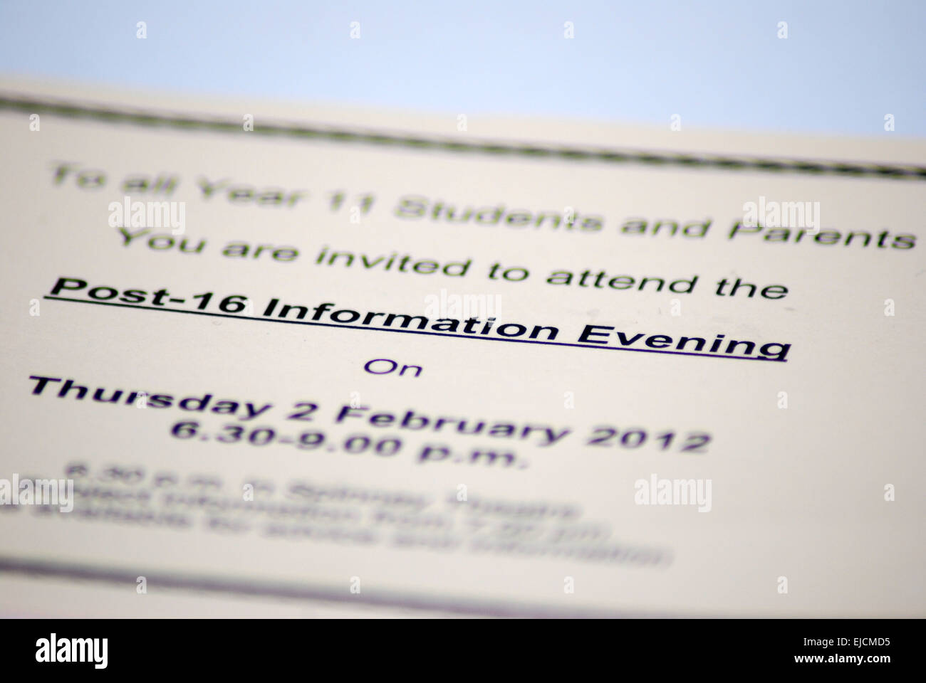 Parents evening invitation letter - Stock Image