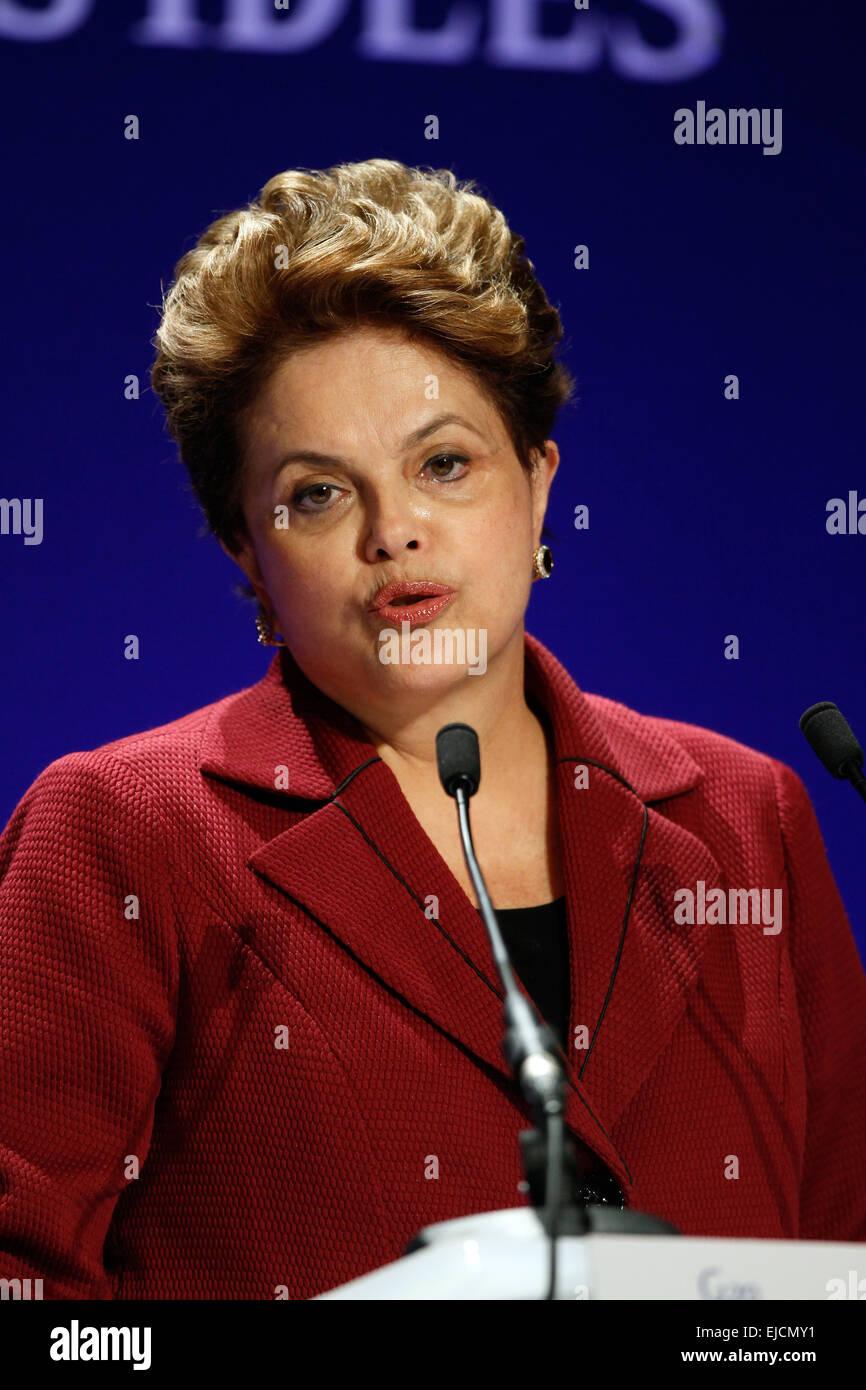 DILMA ROUSSEFF PRESIDENT OF BRAZIL 04 November 2011 PALAIS DE FESTIVAL CANNES FRANCE - Stock Image