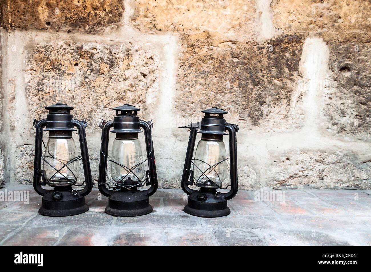 three lanterns in Santa Catalina monastery, Arequipa, Peru - Stock Image