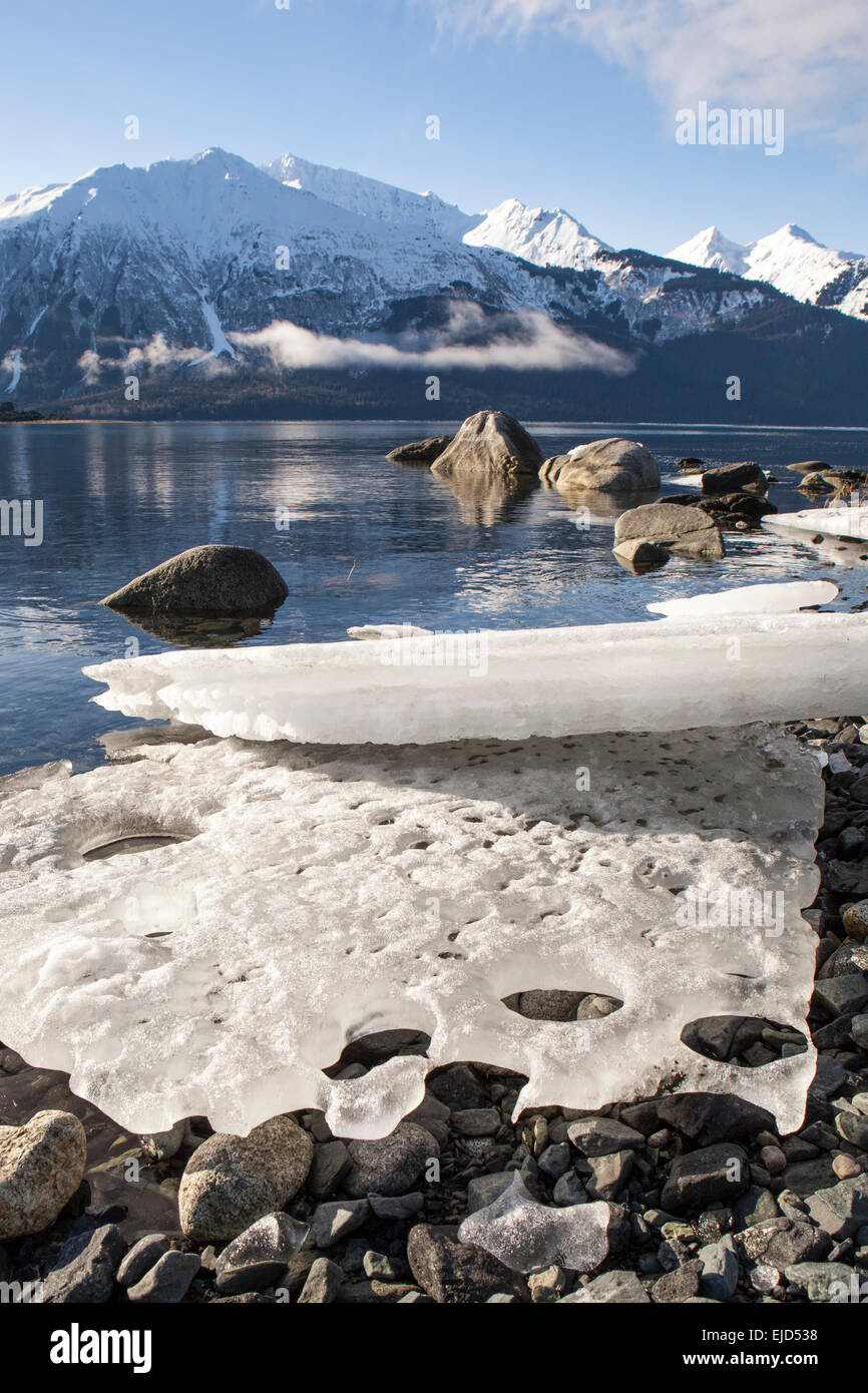 Large beached ice bergs melting in sun in Southeast Alaska. - Stock Image