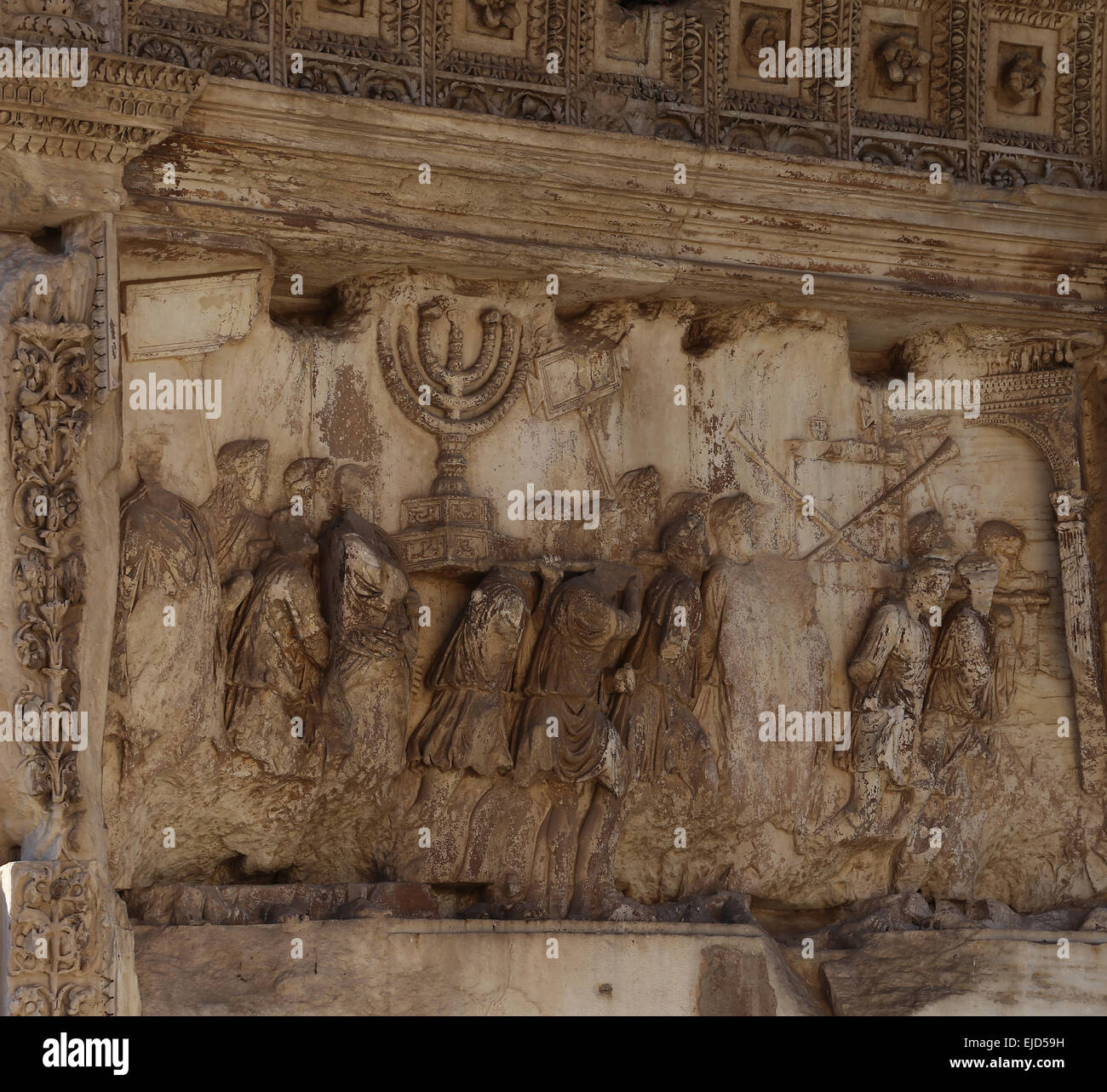 Italy. Rome. Arch of Titus. Constructed in 82 AD by the emperor Domitian to commemorate Titus' victories. Spoil - Stock Image