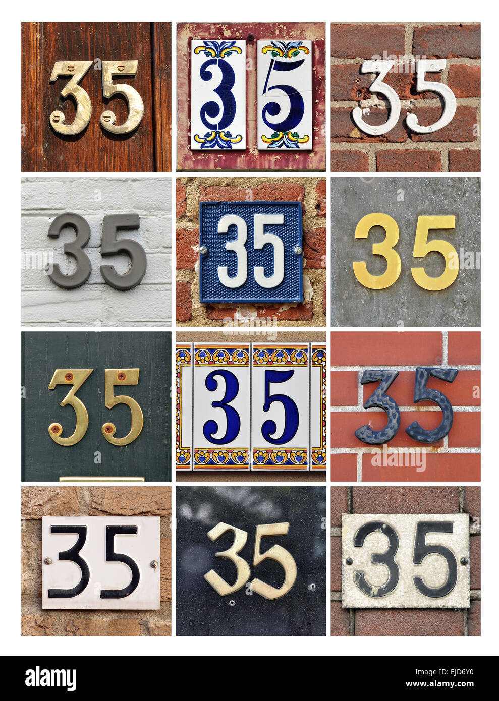 Number 35 - Collage of House Numbers Thirty-five - Stock Image