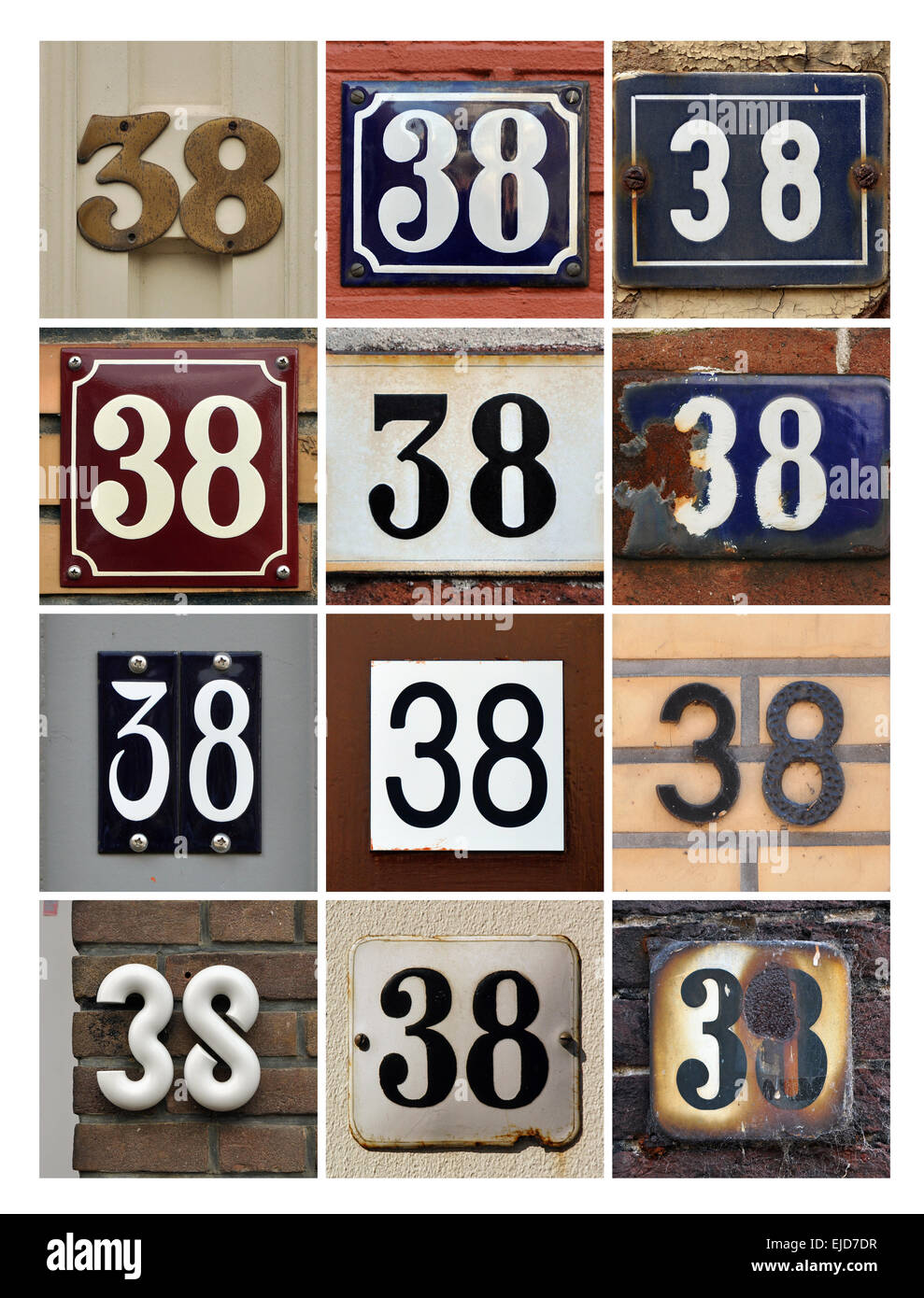 Numbers 38 - Collage of House Numbers Thirty-eight - Stock Image