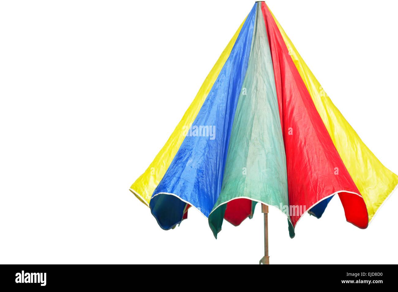 Beach umbrella isolated in white - Stock Image