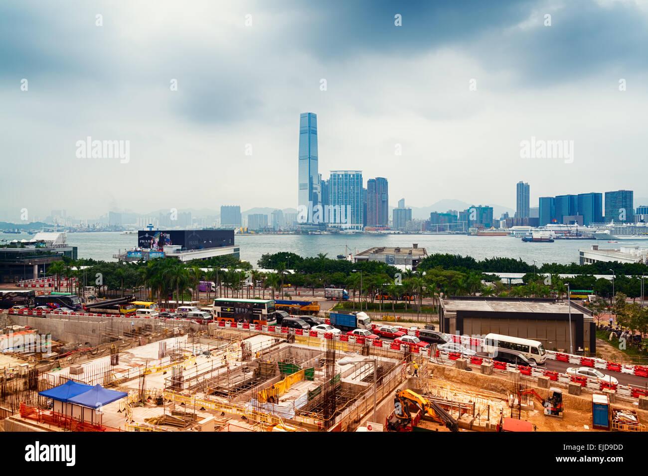 Hong Kong, Hong Kong SAR -November 12, 2014: Building site and the Central Piers area in Hong Kong. ICC - Stock Image