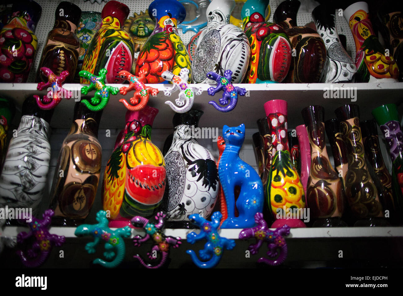 Acapulco, Mexico. 23rd Mar, 2015. Souvenirs are seen at a handcrafts market, in Acapulco City, Guerrero State, Mexico, - Stock Image