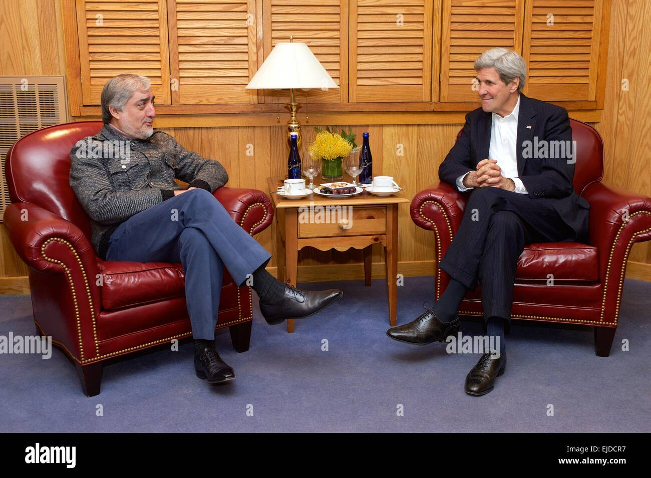 US Secretary of State John Kerry meets with Afghan Chief Executive Abdullah Abdullah during U.S.-Afghan dialogues - Stock Image