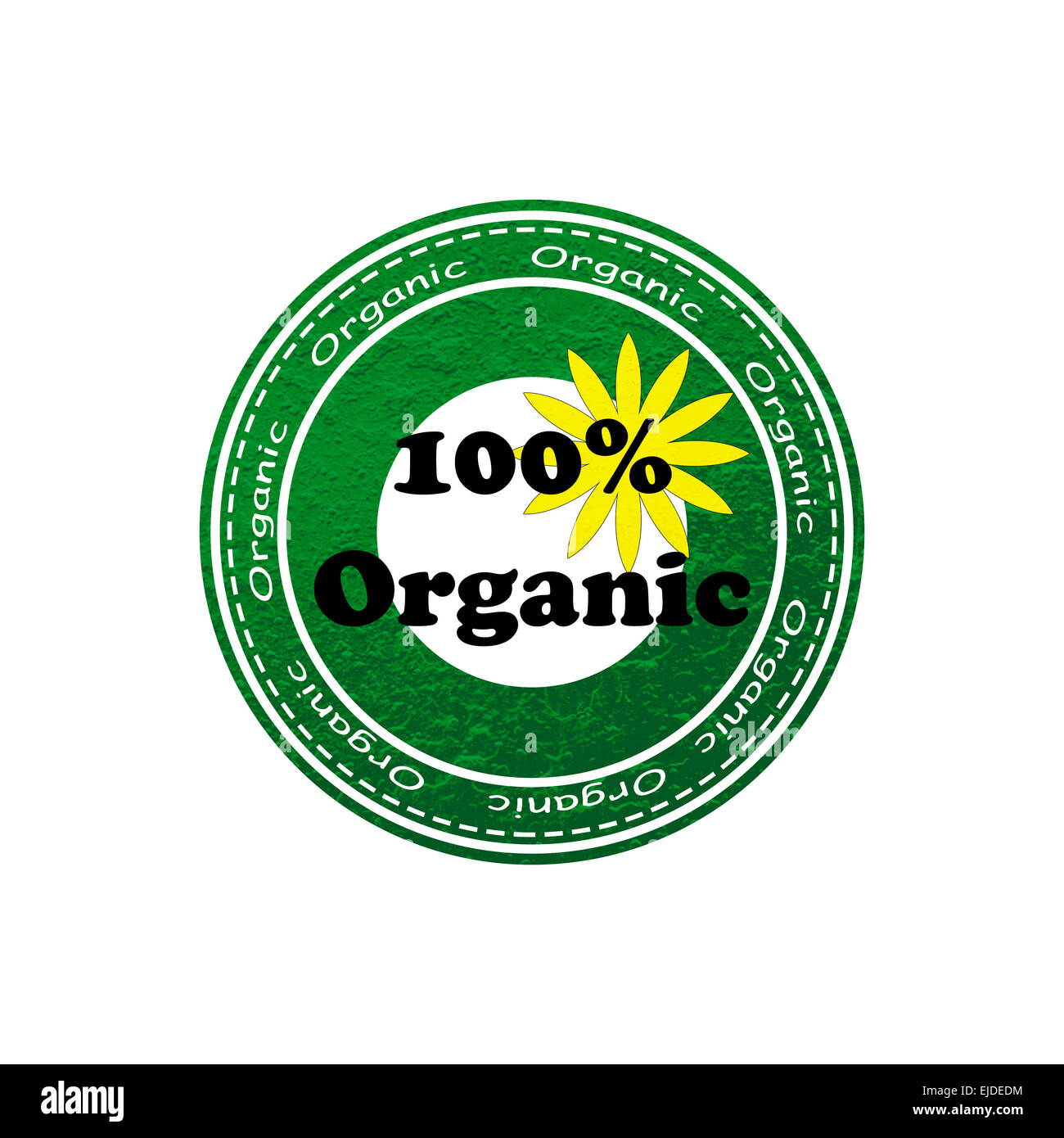 100 Organic Rubber Text Stamp Effect With Green And Yellow Flower