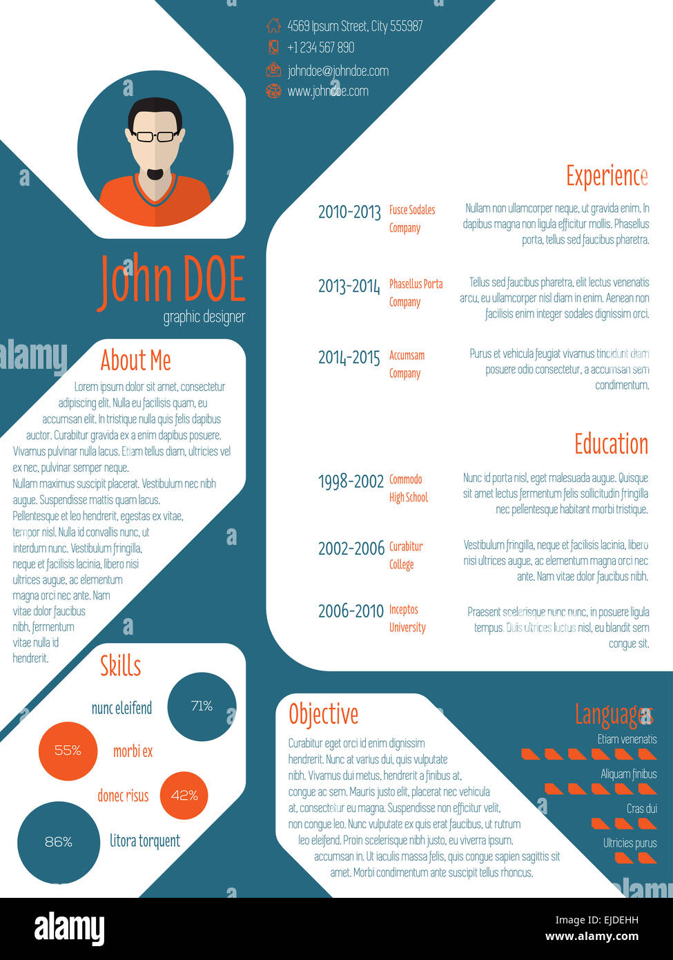 cool new modern cv resume curriculum vitae template with photo and stock photo  80202125