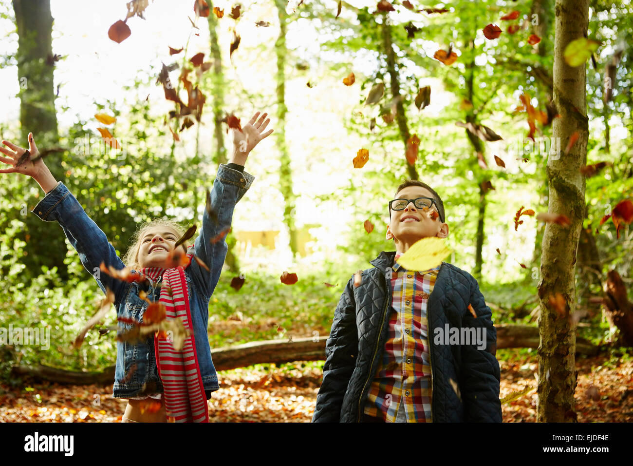 A girl and her brother throwing autumn leaves in the air. - Stock Image