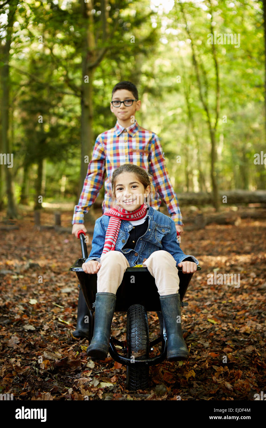 Beech woods in Autumn. Two children, brother and sister, a girl sitting in a wheelbarrow. - Stock Image