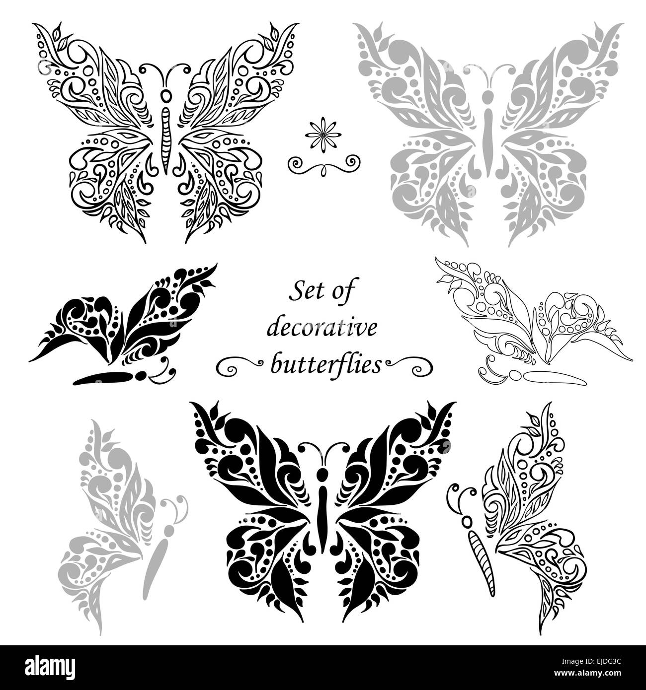 Set of decorative butterflies and elements hand drawing best for set of decorative butterflies and elements hand drawing best for your design advertising and greeting cards textiles tattoo m4hsunfo