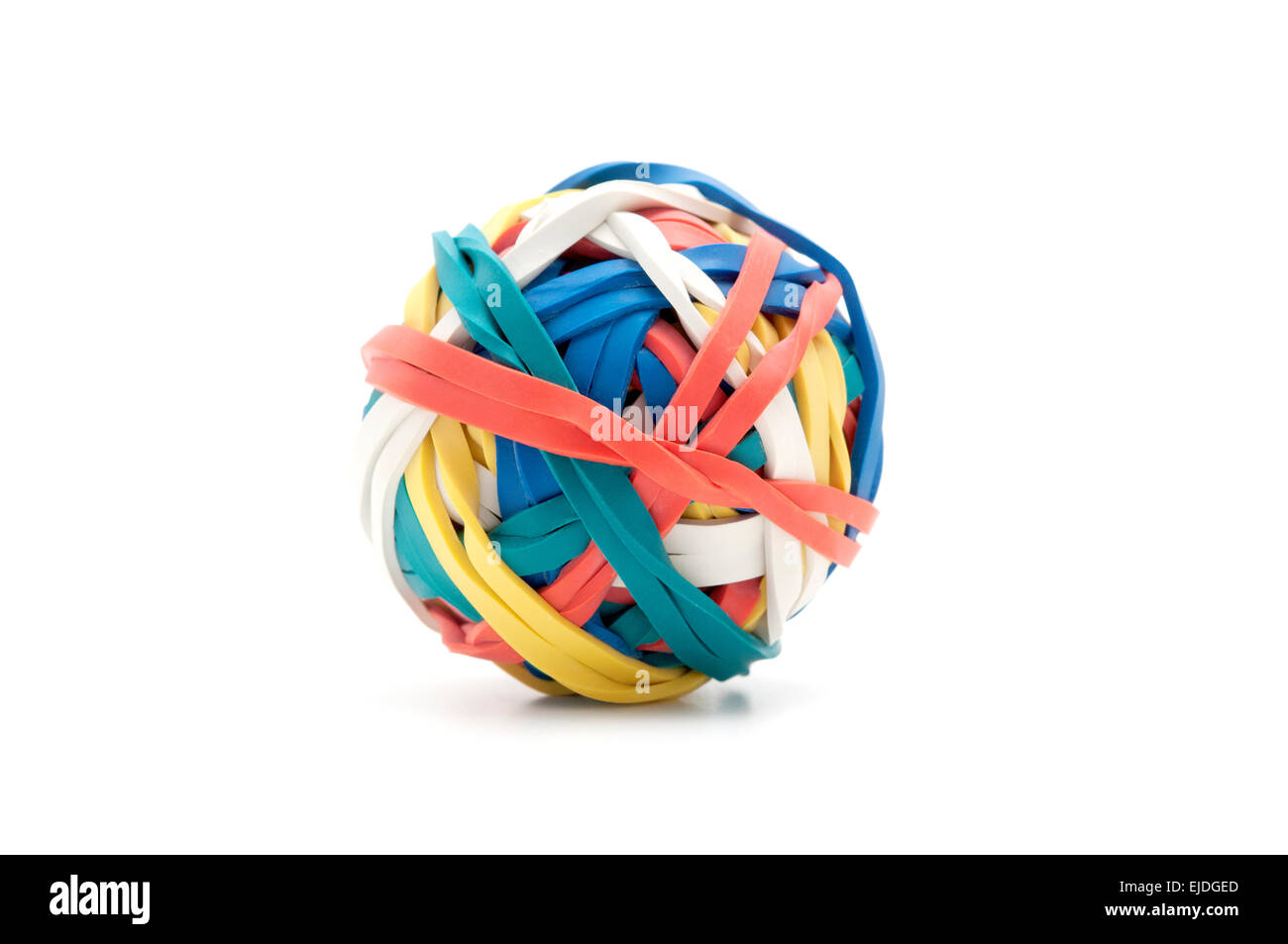 Ball of rubber bands on a white background - Stock Image