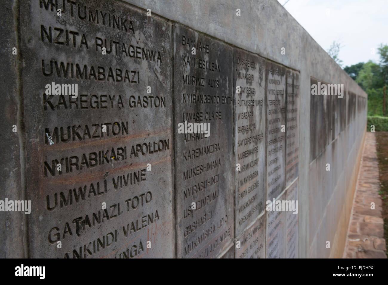 Names wall at Nyamata Memorial. Kigali. Rwanda. - Stock Image