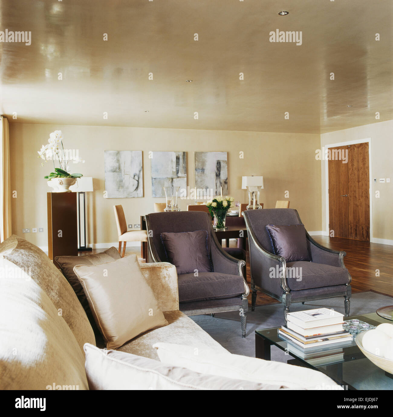 Grey Velvet Chairs And Cream Velvet Sofa In Modern Apartment Living Room  With Lacquer Effect Ceiling