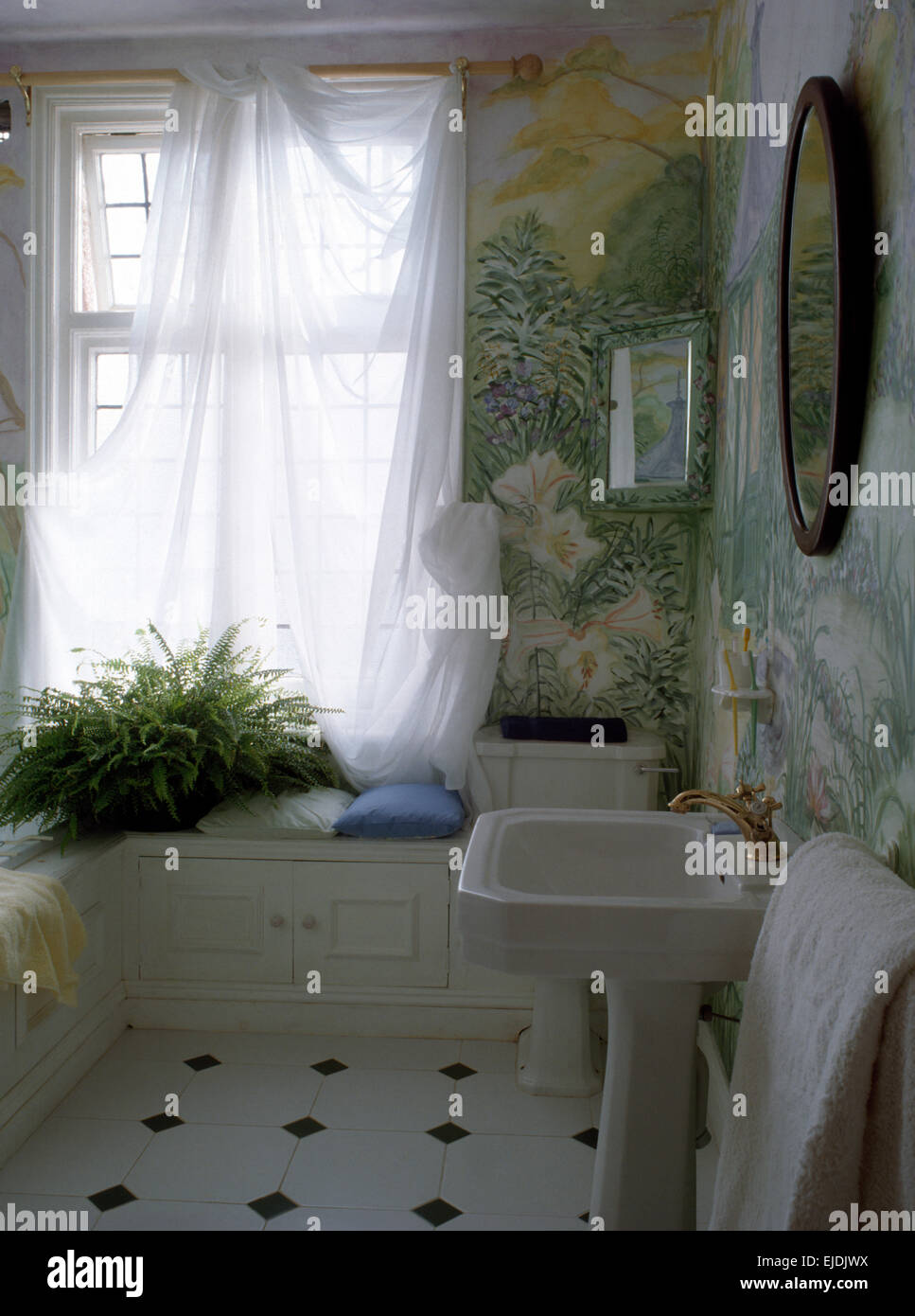 Voile Curtains And Painted Murals In Eighties Bathroom