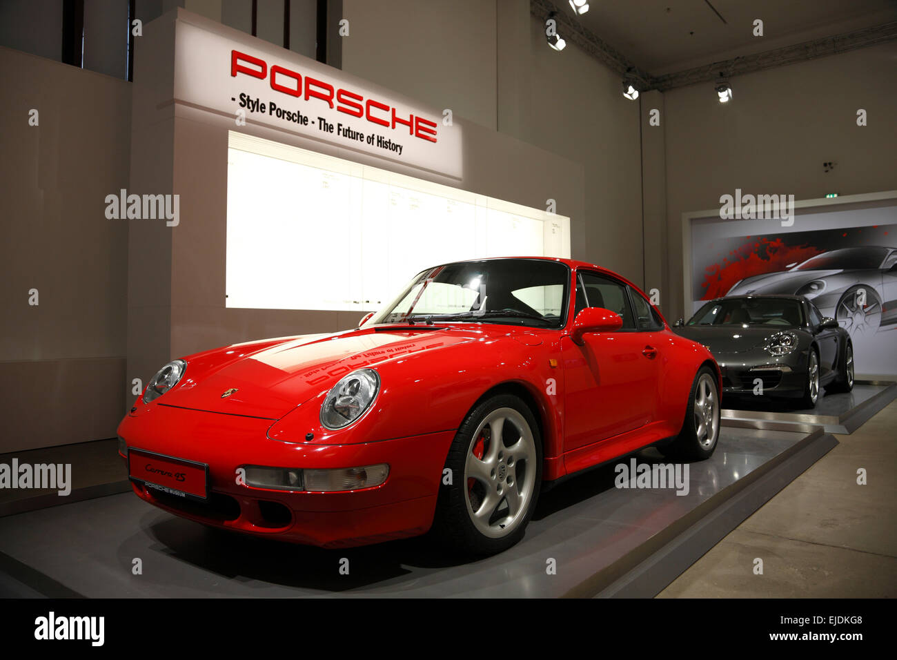 Porsche cars, Red dot design museum, Zeche Zollverein, Essen, Nordrhine Westphalia, Germany, Europe - Stock Image