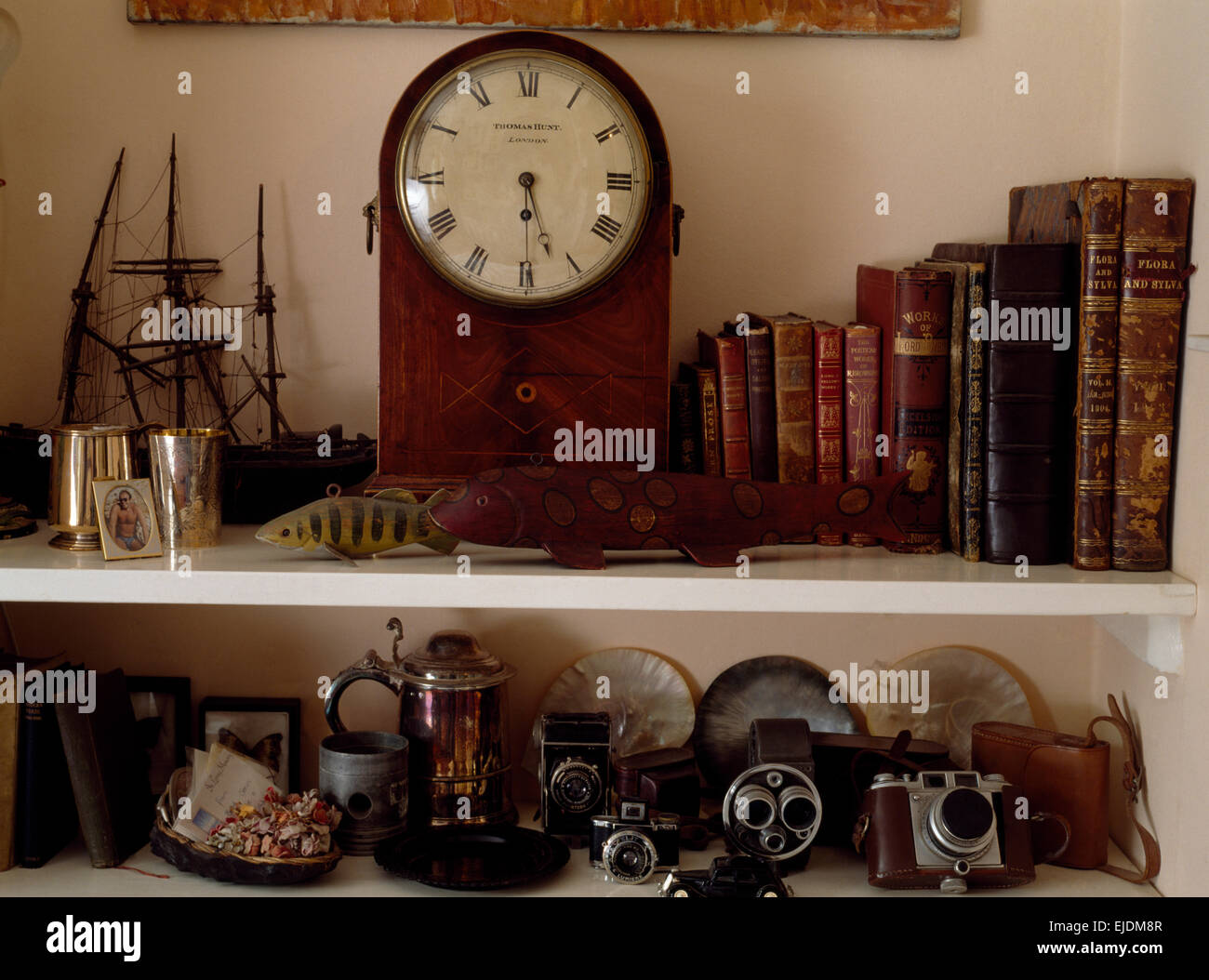 Antique clock and old leather bound books on shelves with vintage cameras - Stock Image