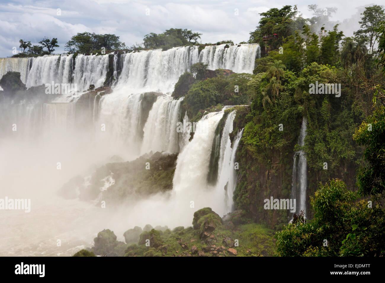 Argentina, Iguazu Falls, San Martin, Mbigua and Barnabe Mendez waterfalls - Stock Image