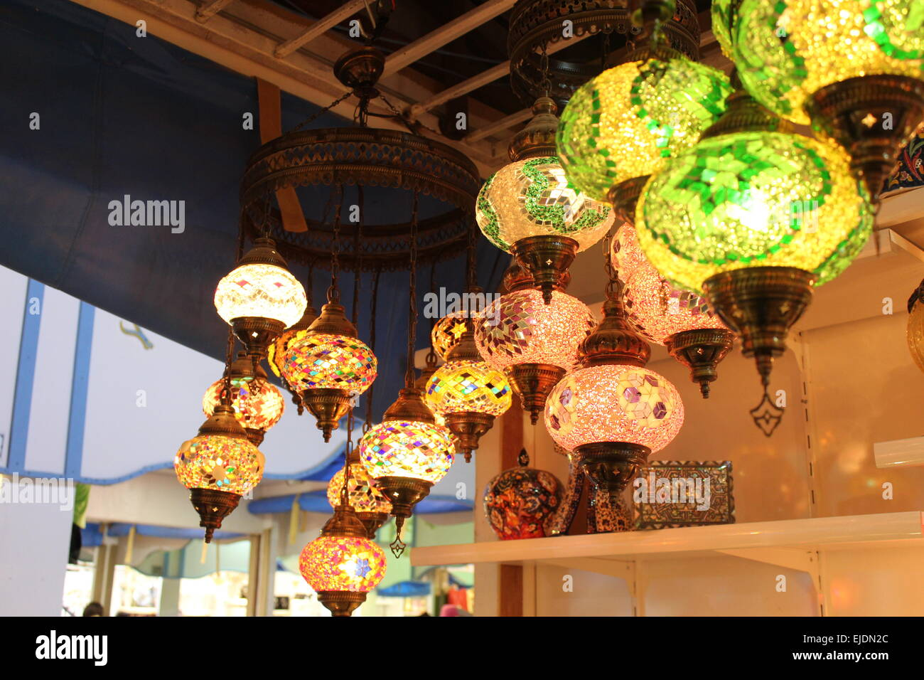 the beautiful handcrafted turkish lamps being displayed in the 'dubai global village ' - Stock Image