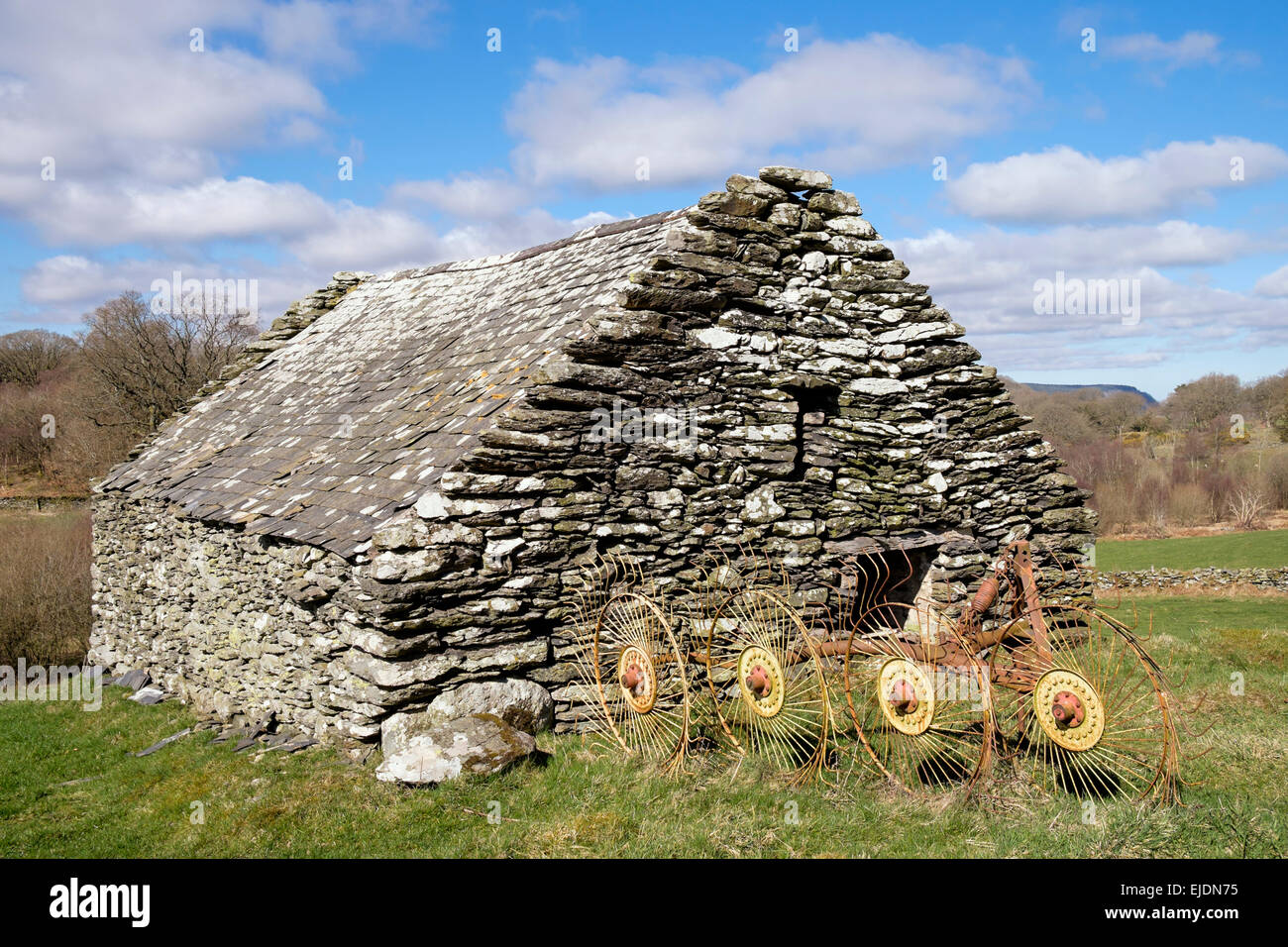 Old agricultural implement hay rake outside a stone barn in countryside near Capel Garmon, Conwy, North Wales, UK, - Stock Image
