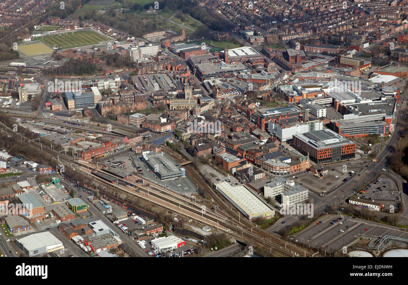 aerial view of Wigan town centre, Lancashire, UK - Stock Image
