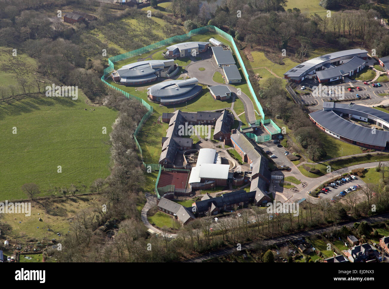 aerial view of Guild Lodge, a secure mental health facility, near Preston in Lancashire, UK - Stock Image