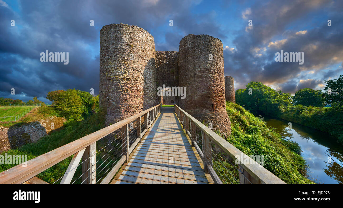 The medieval Llantilio Castle, circa 1185-87, better known as the White Castle, the Monnow valley, Monmouthshire, - Stock Image