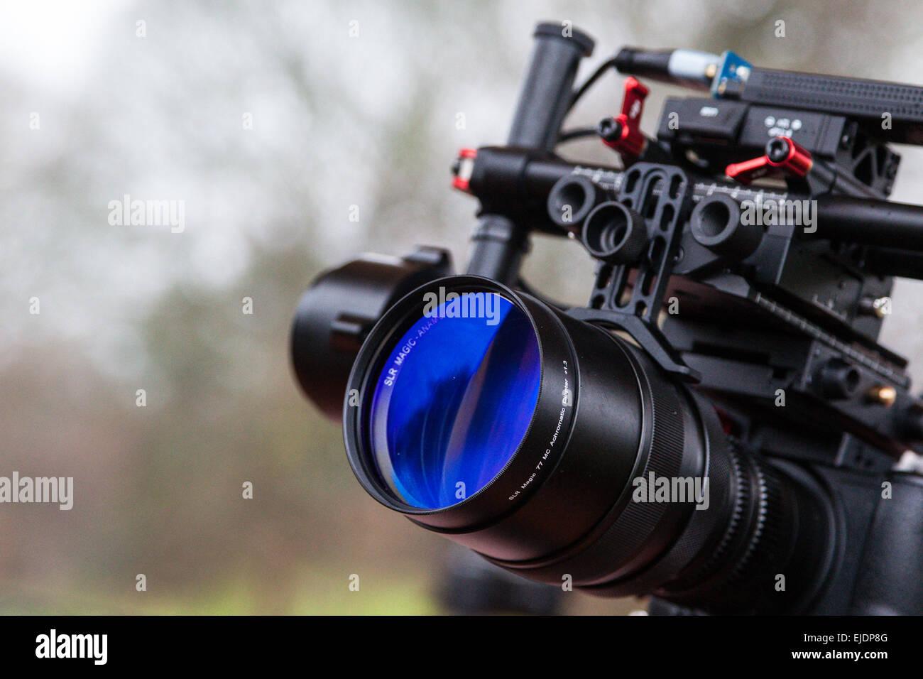 Panasonic GFH4 and anamorphot adapter on an slr magic lens, mounted on a Dji Ronin 3-axis gimbal - Stock Image