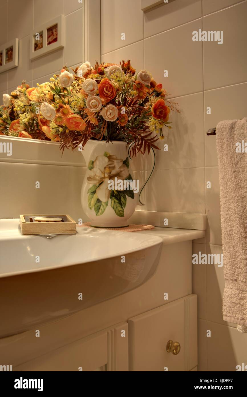 Favorite Vase with dried flowers decor in bathroom, Spain Stock Photo  ZA04