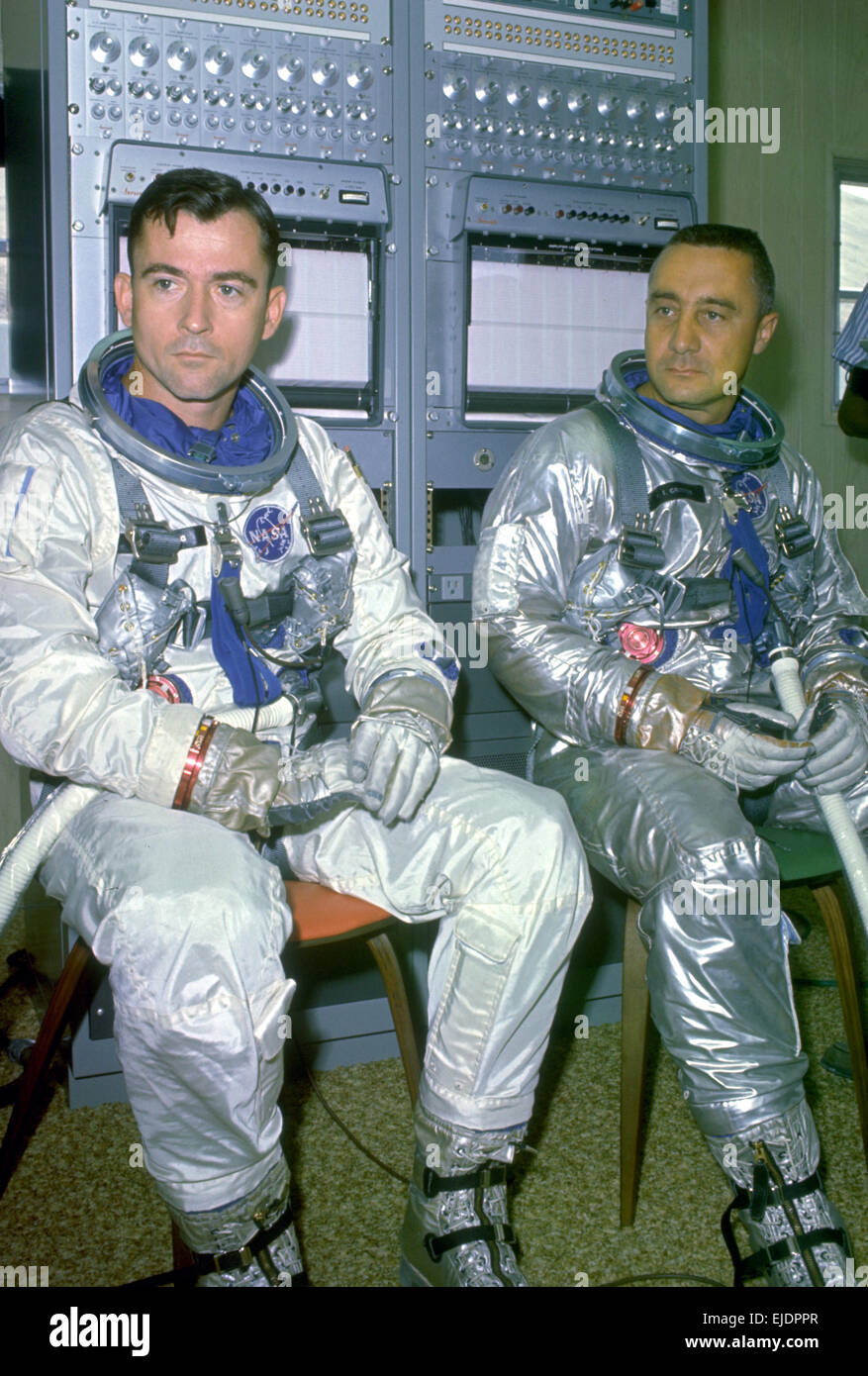 Astronauts John Young (left) and Virgil 'Gus' Grissom took part in training exercises as the back-up crew - Stock Image