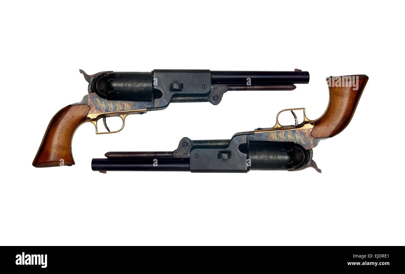 two identical old metal colt revolver on white background - Stock Image