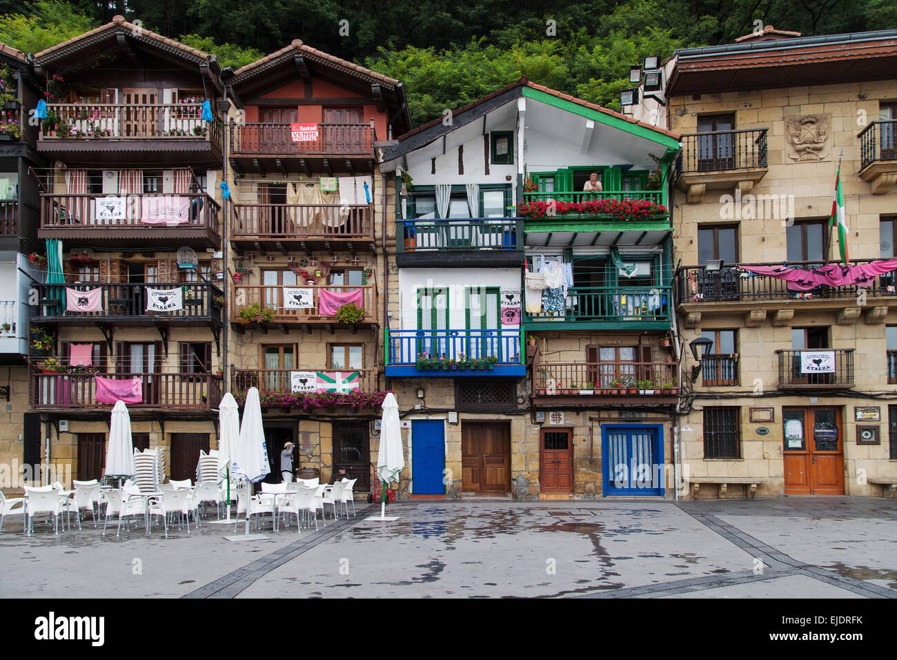 Houses of the Santiago square in Pasai Donibane, Pasaia, Basque Country, Spain. - Stock Image