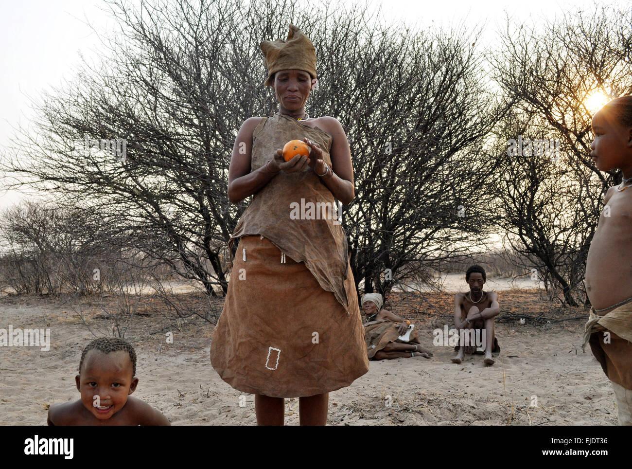 Bushmen Tribe of the Kalahari Desert, Botswana - Stock Image