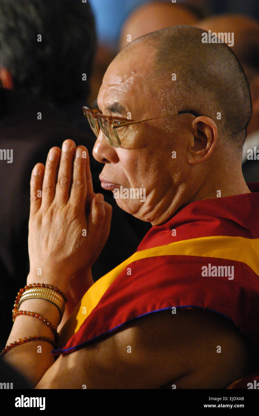 Buddhist spiritual leader Dalai Lama attends the Forum 2000 Conference in Prague, Czech Republic, on September 10, - Stock Image