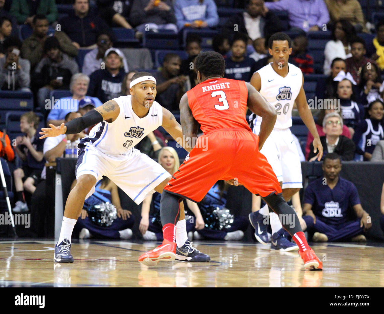 Norfolk, VA., USA. 23rd March, 2015. NCAA Basketball 2015: Illinois State Redbirds guard Daishon Knight (3) is defended - Stock Image