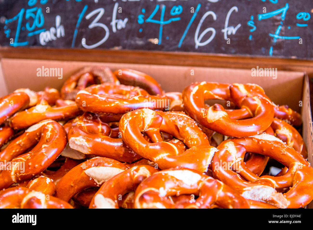 Tight shot of Authentic German Pretzels. - Stock Image