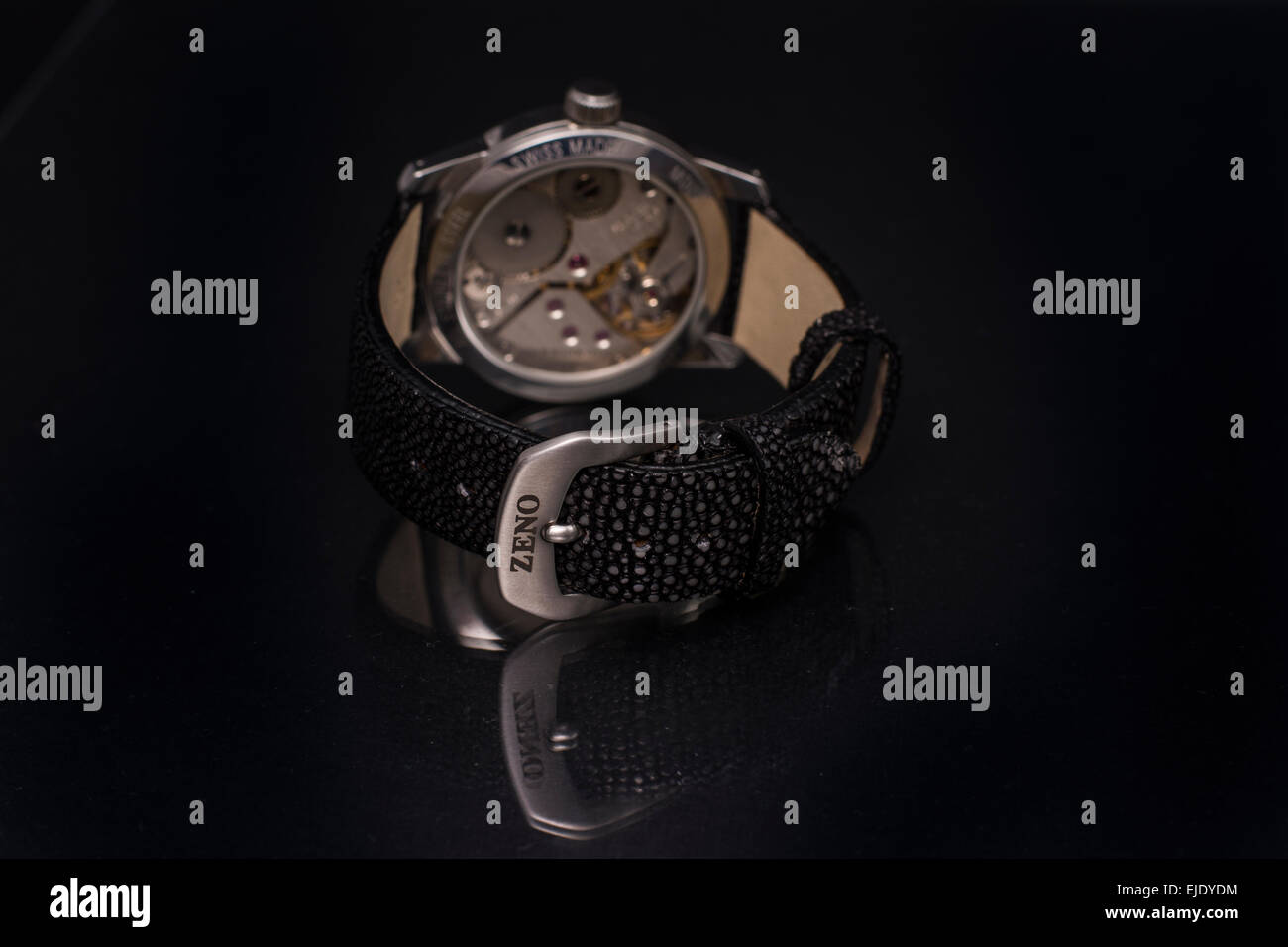 Photo shooting of elegant and luxury male wristwatches on dark background: Zeno Unitas wristwatch - Stock Image