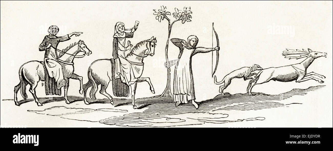 Women hunting in Sherwood Forest Nottinghamshire. Victorian woodcut engraving circa 1845. - Stock Image