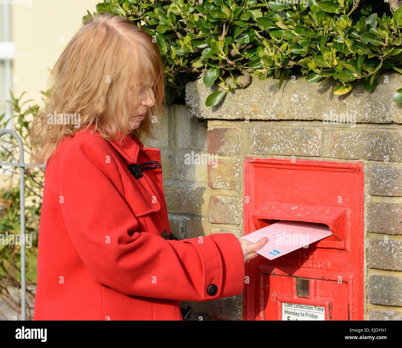 Middle aged woman posting a letter in a Royal Mail wall mounted letter box, in England, UK. - Stock Image